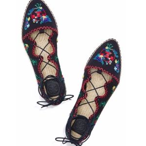 Tory Burch Sonoma Embroidered Ghillie Flat